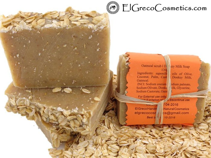 oatmeal scrub donkey milk soap back