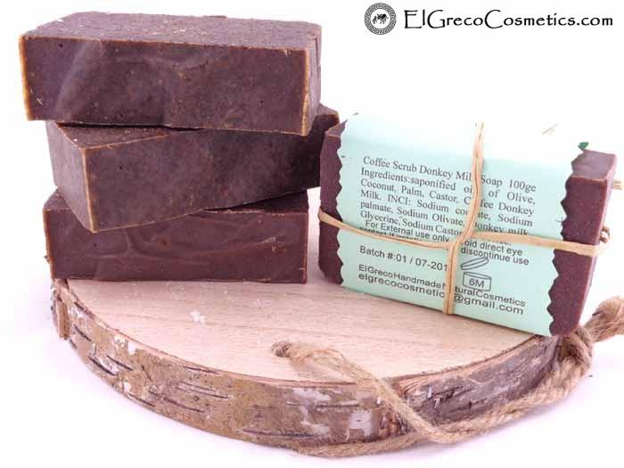 coffee scrub donkey milk soap back